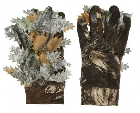 Camo Gloves Dot Grip 3D Leafy Sneaky Stretch Fit Pigeon Shooting Decoying New